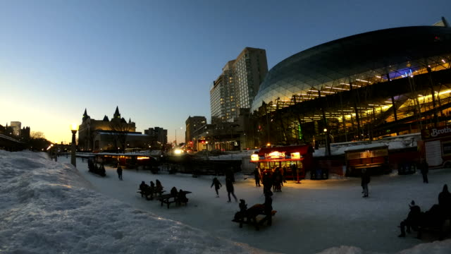 time-lapse:rideau canal during winterlude in ottawa, canada - rideau canal stock videos & royalty-free footage