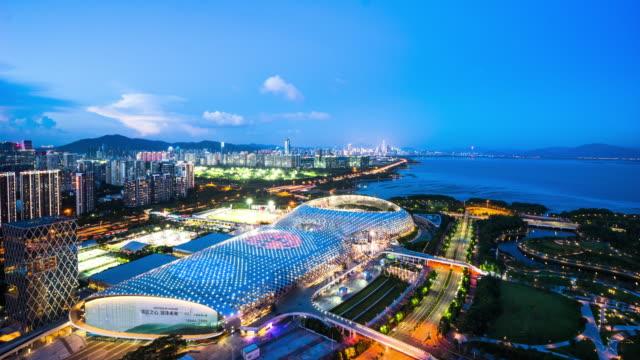 timelapse/shenzhen city skyline ,china - aerial stock videos & royalty-free footage