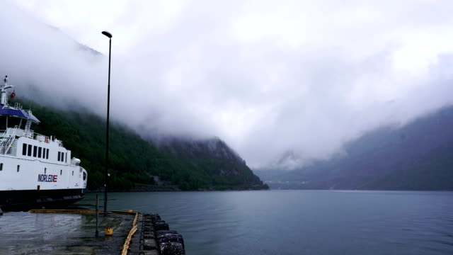 time-lapse:sognefjorden,norway in a nutshell,norway,the world's second longest fjord,seagull,world heritage,naroyfjord,norway's famous tourist destination,ferry - nutshell stock videos & royalty-free footage
