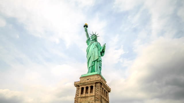hd time-lapse:statue of liberty in new york city - statue of liberty new york city stock videos and b-roll footage