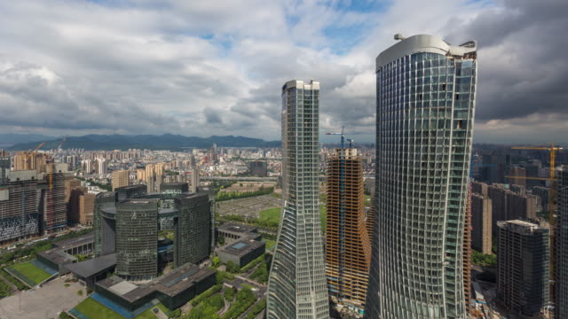 4k time-lapse:storm clouds hang over the city of hangzhou,zhejiang,china - hangzhou stock videos & royalty-free footage