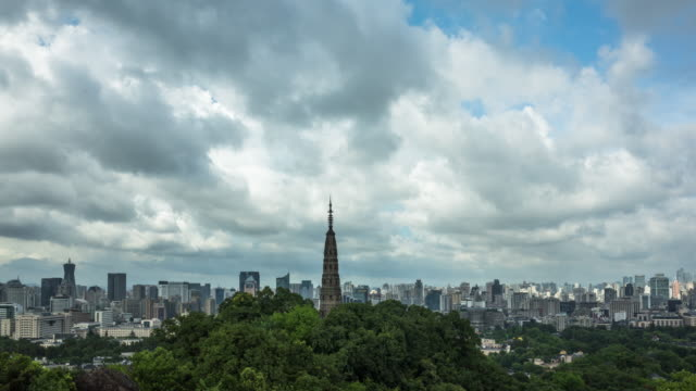 4K Time-lapse:Storm clouds over Hangzhou skyline,Zhejiang,China
