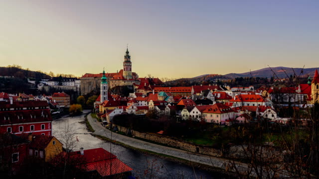time-lapse:summer view of cesky krumlov - spire stock videos & royalty-free footage