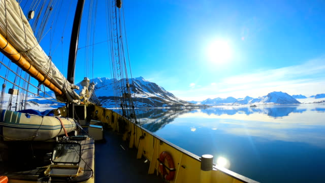 time-lapse:svalbard expedition by sailing boat to nothern fjords, glacier - sailing boat stock videos & royalty-free footage