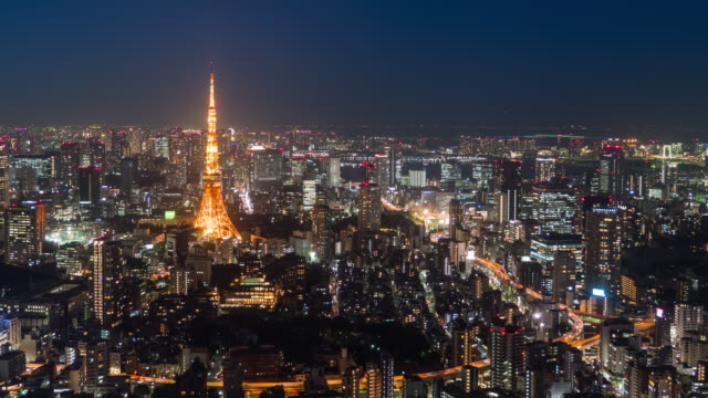 timelapse:tokyo at night - tokyo tower stock videos and b-roll footage