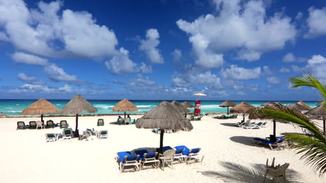 time-lapse:tropical beach resort.mexican - mayan riviera stock videos and b-roll footage