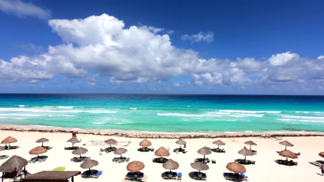 time-lapse:tropical beach resort.mexico - palapa stock videos & royalty-free footage