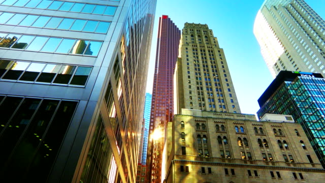 time-lapse:up view in financial district,toronto - bank financial building stock videos and b-roll footage