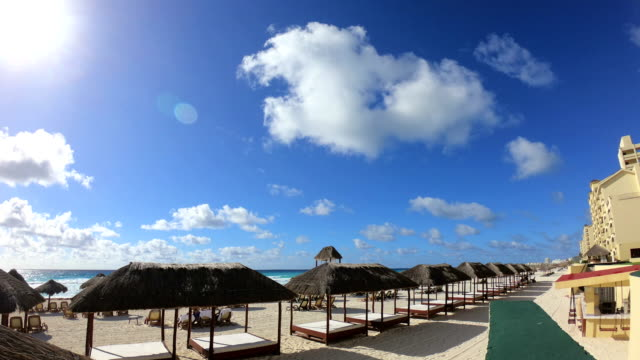 Time-lapse:Vacation Tropical Beach Resort Hotel with Aqua Water, Blue Sky