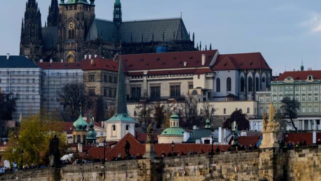 time-lapse:vltava river and charles bridge in prague - vltava river stock videos & royalty-free footage