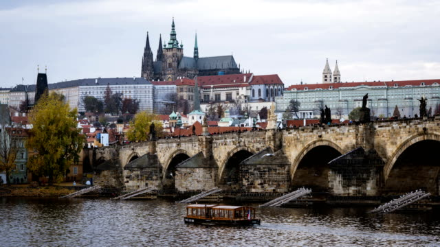 time-lapse:vltava river and charles bridge in prague - vltava river stock videos & royalty-free footage