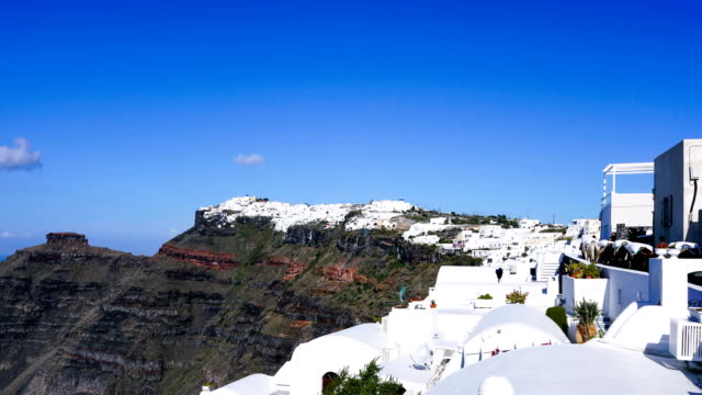 time-lapse:white church in oia town on santorini island in greece - oia santorini stock videos & royalty-free footage