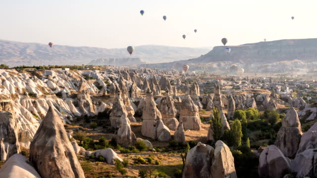 4k timelaps-hot air balloons in morning at cappadocia - 6th century bc stock videos and b-roll footage