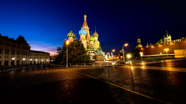 4k timelaps-st basil's cathedral in moscow. - moscow russia stock videos & royalty-free footage