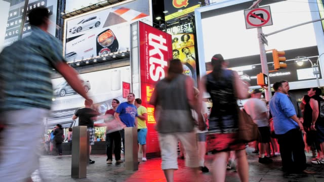 times square, 42nd street, new york city, usa time lapse, times square, new york city on july 09, 2013 in new york city, new york - theatre district stock videos & royalty-free footage