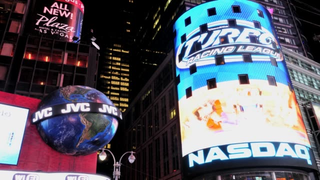 times square, 42nd street on july 09, 2013 in new york city, new york - ナスダック点の映像素材/bロール