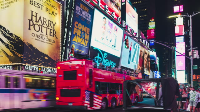 t/l pan times square at night / manhattan, nyc - broadway manhattan stock videos & royalty-free footage