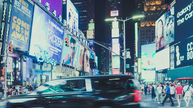 t/l times square at night / manhattan, nyc - broadway manhattan stock videos & royalty-free footage