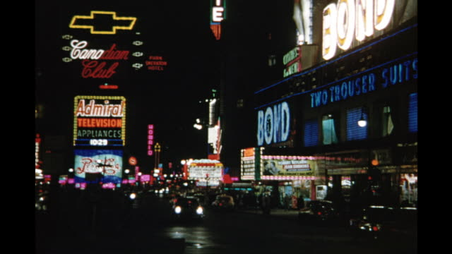 1954 montage times square at night, new york city, new york, usa - 1954 stock videos and b-roll footage