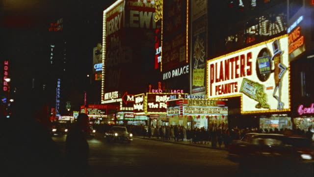 1958 montage times square at night, new york, new york state, usa - 1958 stock videos & royalty-free footage
