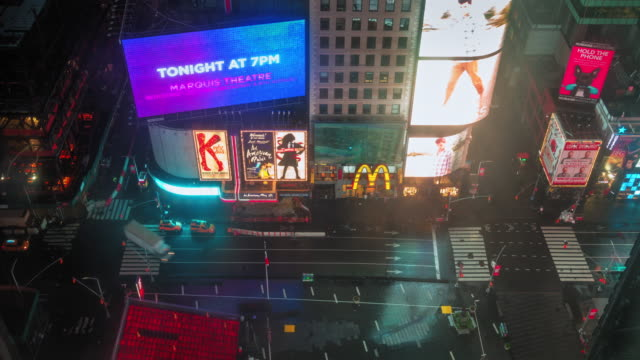 times square at night - electronic billboard stock videos and b-roll footage