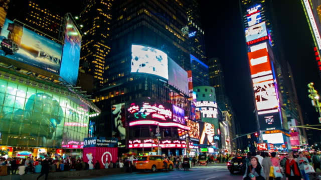 times square at night. - times square manhattan stock videos & royalty-free footage
