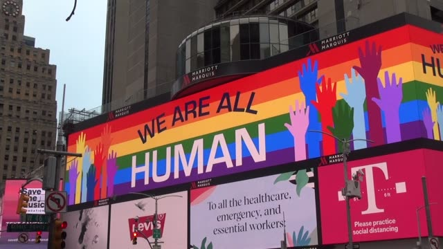 times square billboard we are all human - salmini stock videos & royalty-free footage