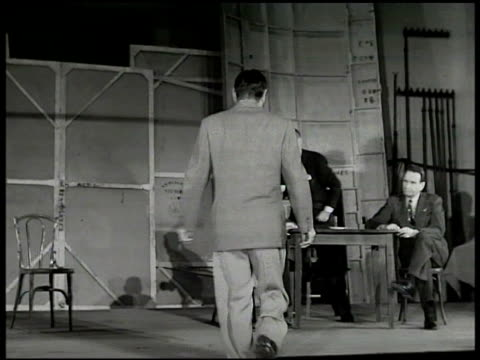 Times Square Broadway 7th Avenue THEATRE DISTRICT Poster 'Red Gloves' INT Mansfield Theatre Charles Boyer in rehearsal talking w/ director Jed Harris...