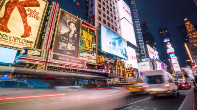 times square by night, new york city, time lapse - broadway manhattan stock-videos und b-roll-filmmaterial
