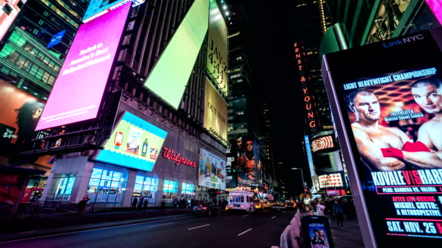 times square city buildings and night street viewed in new york, u.s. - 電飾点の映像素材/bロール