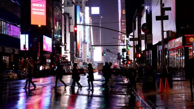 times square crosswalk - wet stock videos & royalty-free footage