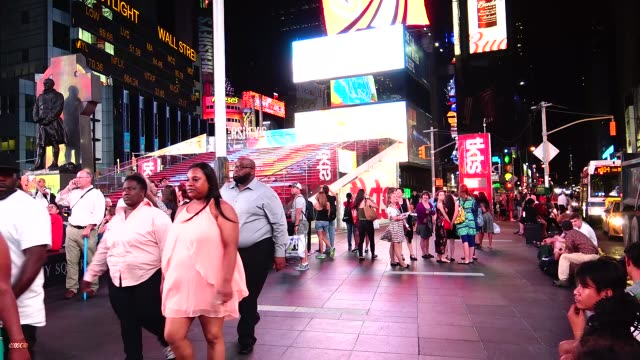 Times Square during the summer season / Duffy Square TKTS Midtown Manhattan Broadway and Seventh Avenue New York City USA