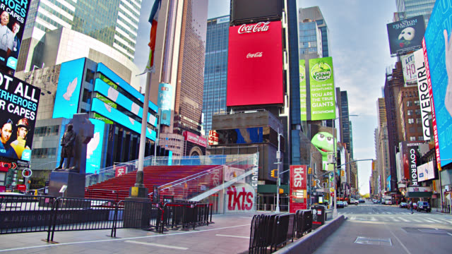 times square empty during covid-19. awaiting tourists - times square manhattan stock videos & royalty-free footage