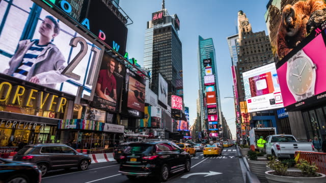 times square in new york city - yellow taxi stock videos & royalty-free footage