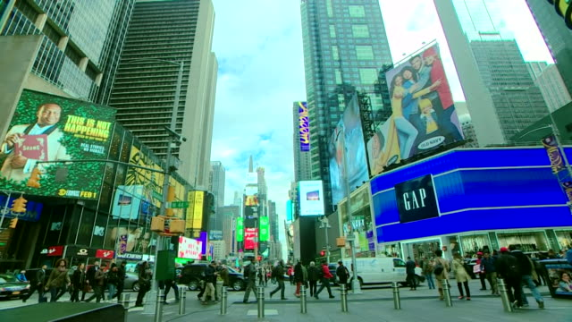 gv times square in new york with a big screen in the background showing liam neeson on good morning america - good morning america stock videos and b-roll footage