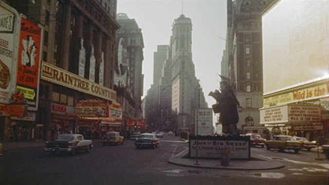 times square in winter, marquees, neon - 1959 stock videos & royalty-free footage
