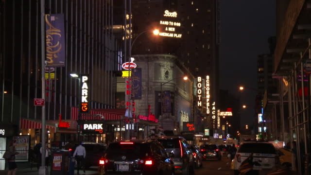times square, manhattan - broadway theater district (night) - broadway manhattan video stock e b–roll