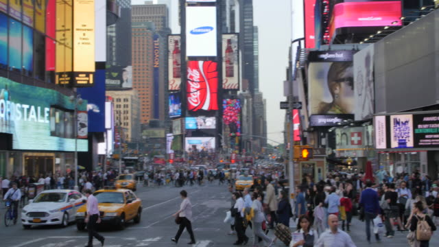 times square, manhattan, new york city, new york, usa, north america - taxi stock videos & royalty-free footage