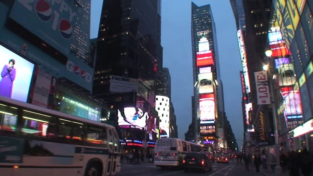stockvideo's en b-roll-footage met times square manhattan new york city with traffic and pedestrians times square with traffic and pedestrians on january 01 2012 - salmini
