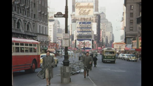 1954 montage times square, new york city, new york, usa - 1954 stock videos and b-roll footage