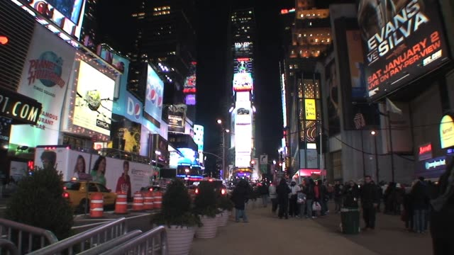 times square new york city street level at night times square at night on january 01 2012 - salmini stock videos & royalty-free footage