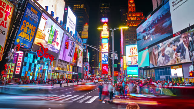 times square. new york - yellow taxi video stock e b–roll