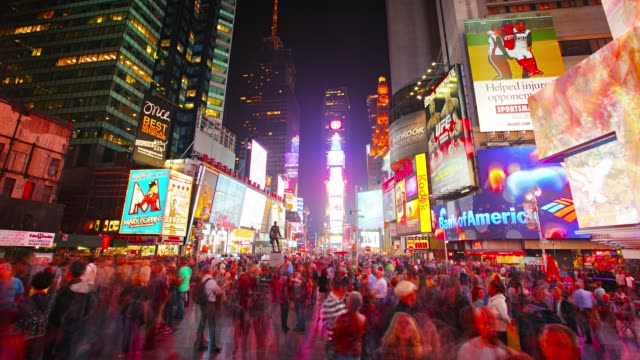 times square. night. crowd. billboard - digital signage stock videos and b-roll footage