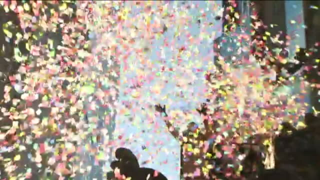 WPIX Times Square Test's Its New Year's Confetti