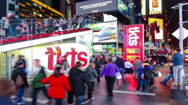 time lapse, times square, tkts, new york city - theatre district stock videos & royalty-free footage