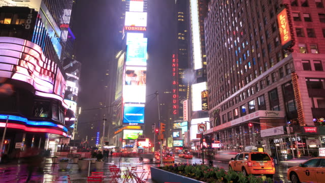 times square traffic at night - manhattan theater district stock videos and b-roll footage