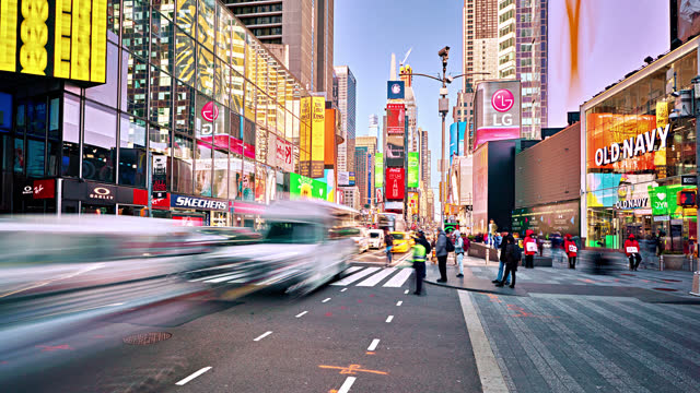 times square. traffic. morning. happiness. - times square manhattan stock videos & royalty-free footage