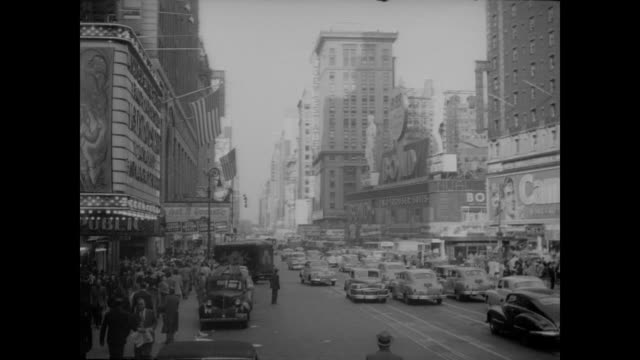 1948 times square traffic, nyc - theater marquee commercial sign stock videos & royalty-free footage