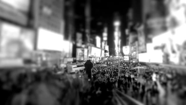 times square - black and white stock videos & royalty-free footage