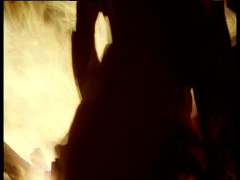 Timeslice spins right around fire and native people Kalahari Desert.